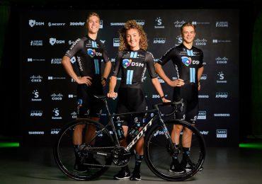 2021 Abbigliamento Ciclismo DSM Blu Nero Manica Corta e Salopette in linea